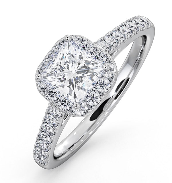 Roxy GIA Diamond Engagement Side Stone Ring in 18KW Gold 1.48CT G/VS1