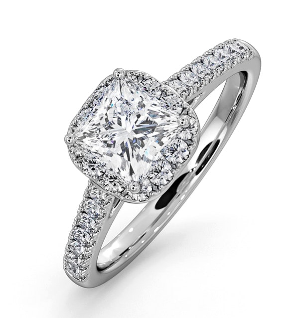 Roxy GIA Diamond Engagement Side Stone Ring Platinum 1.58CT G/SI1