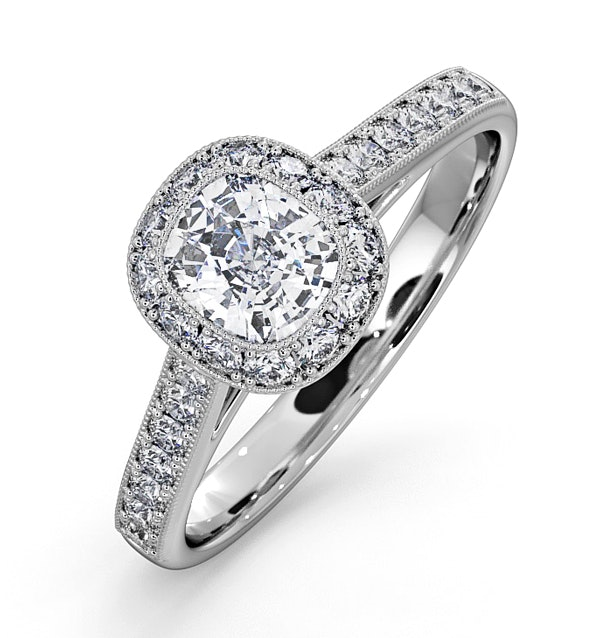 Danielle GIA Diamond Engagement Side Stone Ring in 18KW Gold 1CT G/VS1