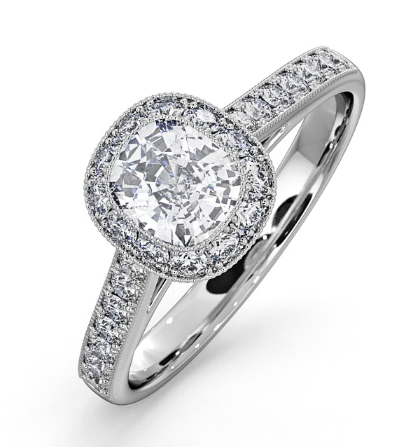Danielle GIA Diamond Engagement Side Stone Ring 18KW Gold 1.25CT G/VS2