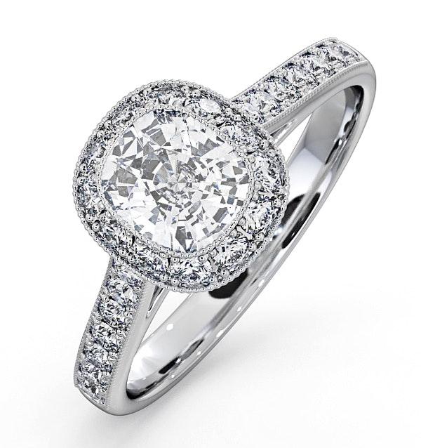 Danielle GIA Diamond Engagement Side Stone Ring Platinum 1.50CT G/SI1