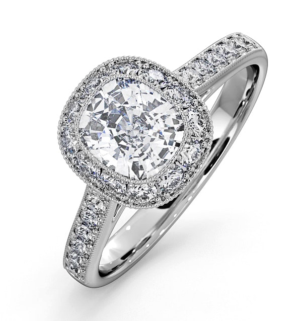 Danielle GIA Diamond Engagement Side Stone Ring 18KW Gold 1.60CT SI1