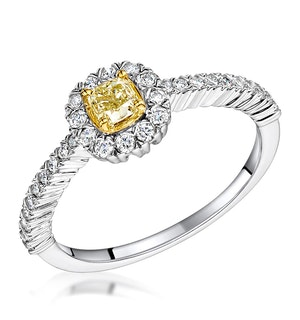 ALICIA YELLOW DIAMOND HALO ENGAGEMENT RING 0.55CT IN 18K WHITE GOLD