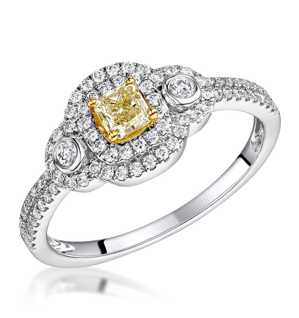 Pia Yellow Diamond Double Halo Engagement Ring 0.59ct 18K White Gold