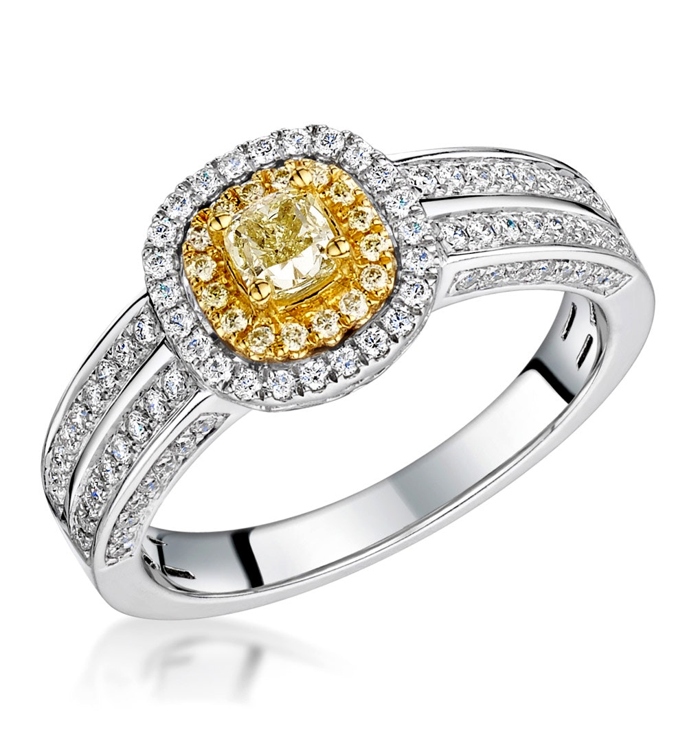 Shaya Yellow Diamond Double Halo Engagement Ring 0.65ct 18K White Gold