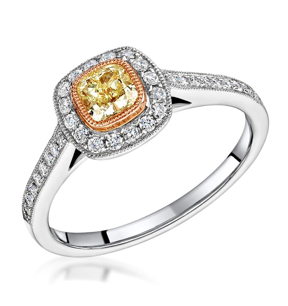 Leila Yellow Diamond Halo Milgrain Engagement Ring 0.88ct Platinum