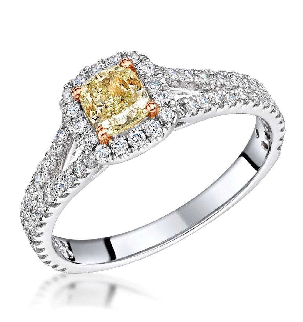 Victoria Yellow Diamond Halo Engagement Ring 1.25ct in Platinum