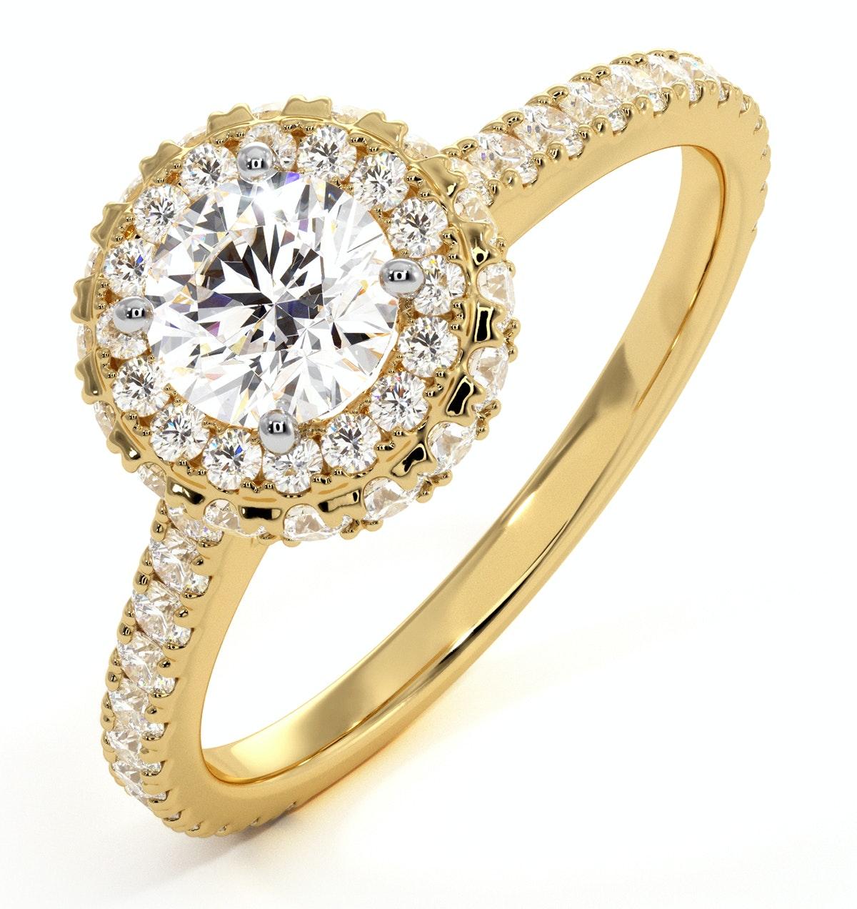 Valerie GIA Diamond Halo Engagement Ring in 18K Gold 1.10ct G/VS1