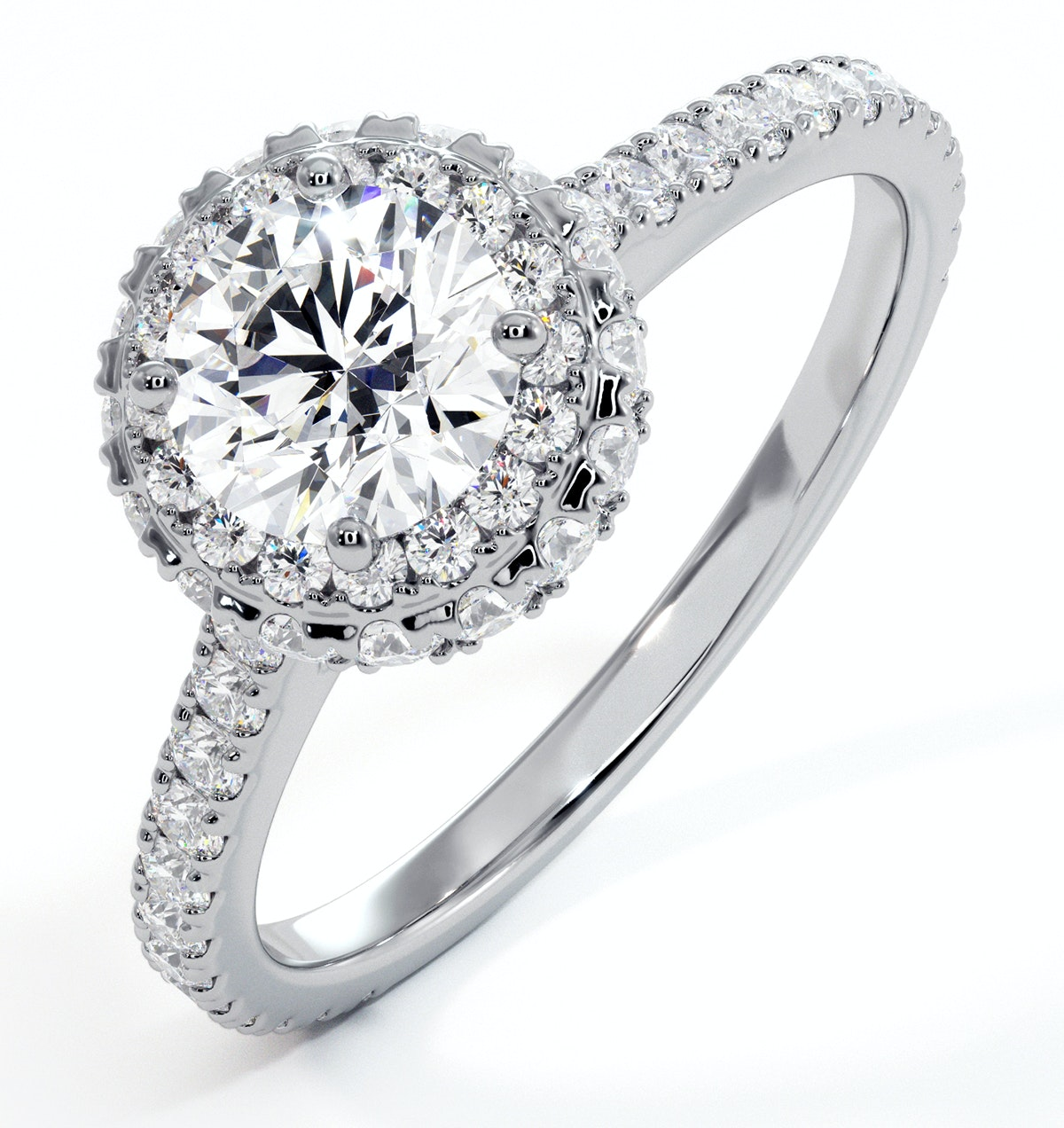 Valerie GIA Diamond Halo Engagement Ring in Platinum 1.40ct G/SI2