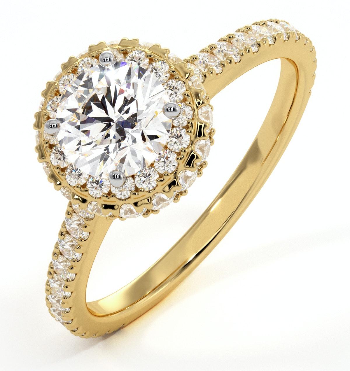 Valerie GIA Diamond Halo Engagement Ring in 18K Gold 1.40ct G/VS2