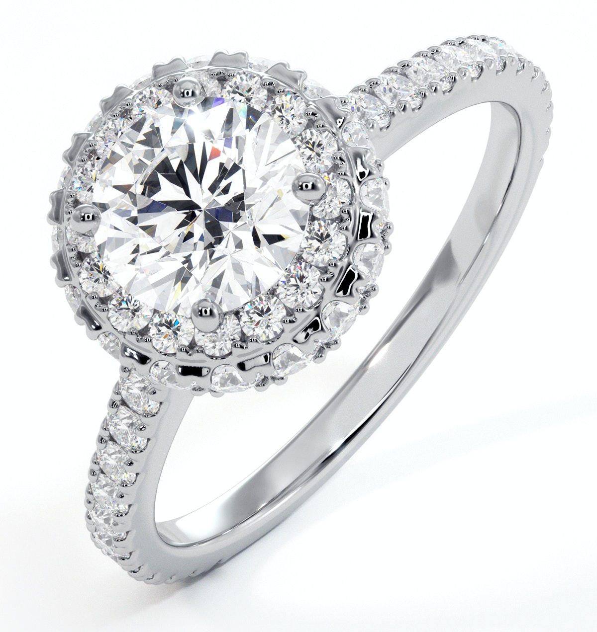 Valerie GIA Diamond Halo Engagement Ring 18K White Gold 1.60ct G/SI1