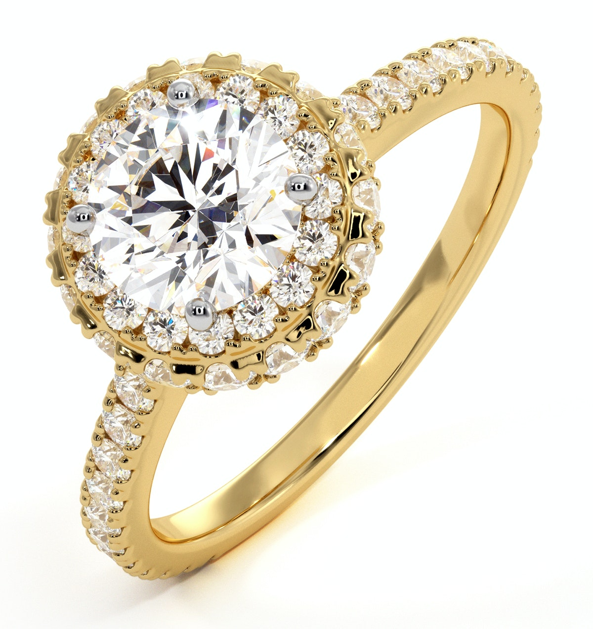 Valerie GIA Diamond Halo Engagement Ring in 18K Gold 1.60ct G/SI1
