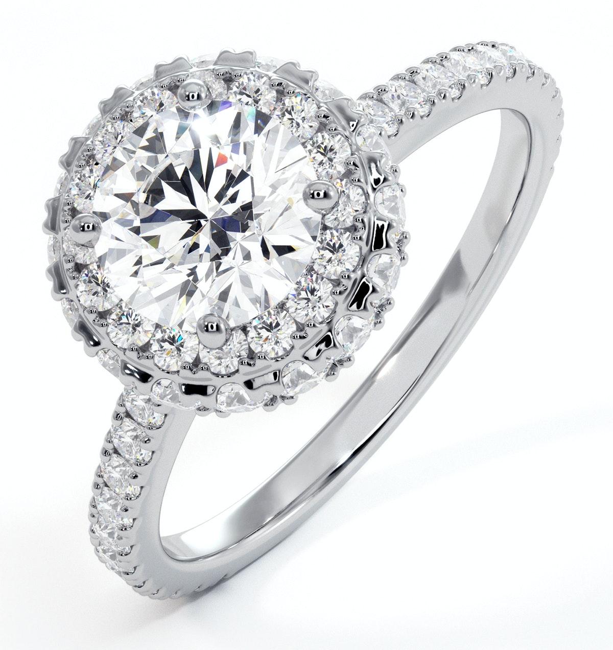 Valerie GIA Diamond Halo Engagement Ring 18K White Gold 1.80ct G/VS1