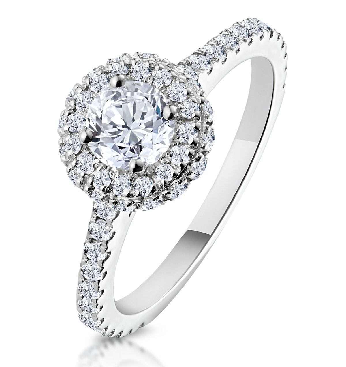 Valerie GIA Diamond Halo Engagement Ring in Platinum 1.10ct G/SI1
