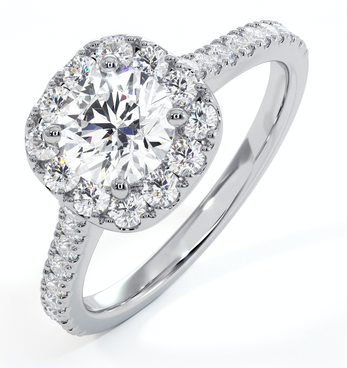 Elizabeth GIA Diamond Halo Engagement Ring in Platinum 1.30ct G/SI2