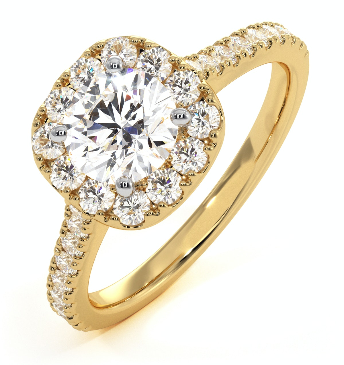 Elizabeth GIA Diamond Halo Engagement Ring in 18K Gold 1.30ct G/SI2