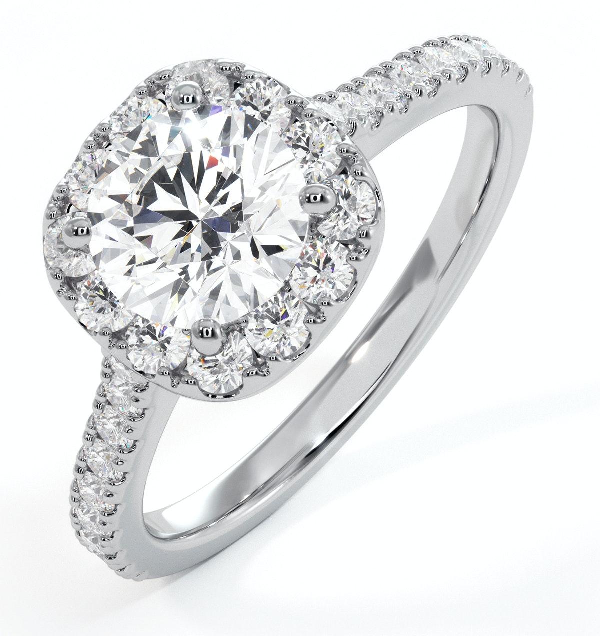 Elizabeth GIA Diamond Halo Engagement Ring 18K White Gold 1.50ct G/VS2