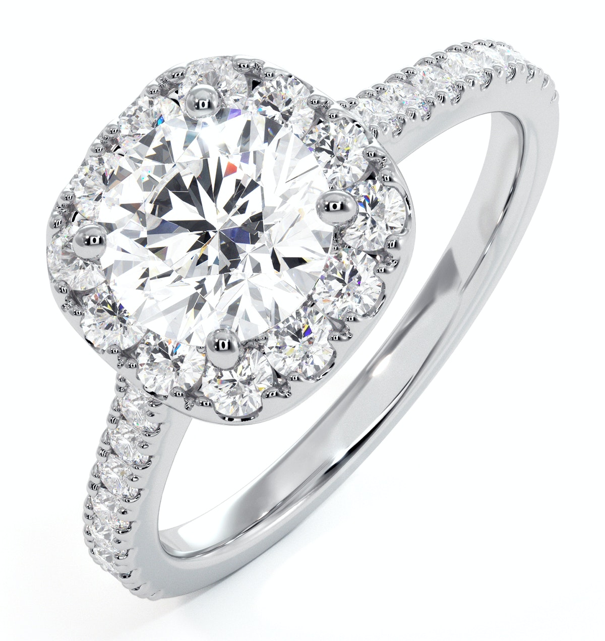 Elizabeth GIA Diamond Halo Engagement Ring in Platinum 1.70ct G/SI2