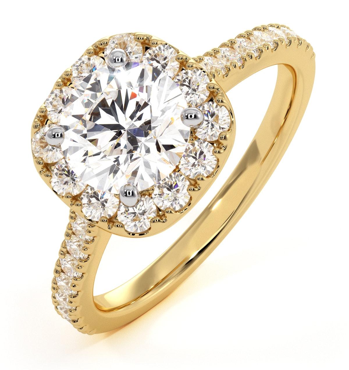 Elizabeth GIA Diamond Halo Engagement Ring in 18K Gold 1.70ct G/VS2