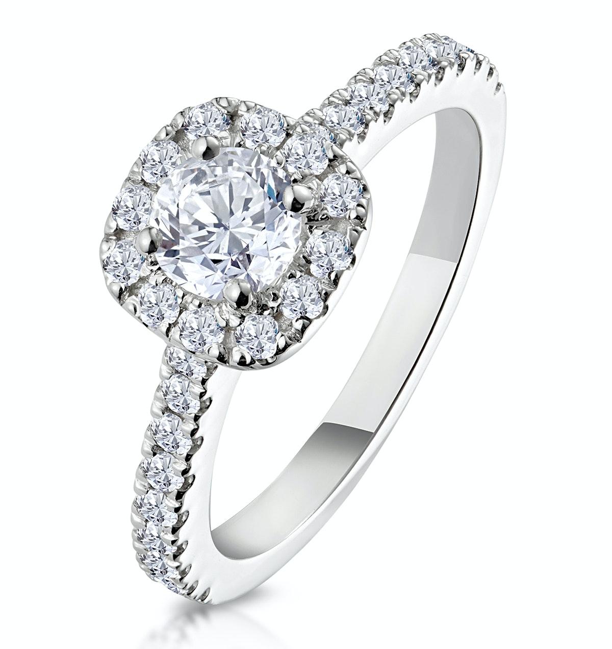 Elizabeth GIA Diamond Halo Engagement Ring 18K White Gold 1.00ct G/SI1