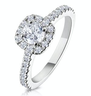 ELIZABETH GIA DIAMOND HALO ENGAGEMENT RING 18K WHITE GOLD 1.00CT G/SI2