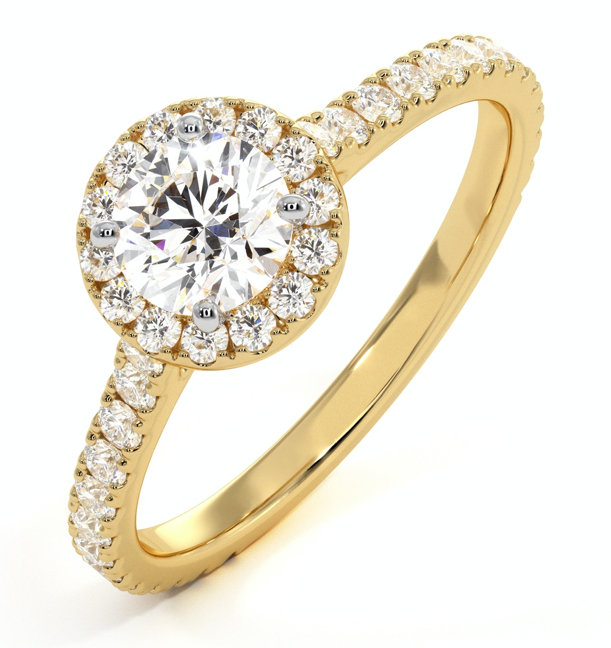 Reina GIA Diamond Halo Engagement Ring in 18K Gold 1.10ct G/SI1