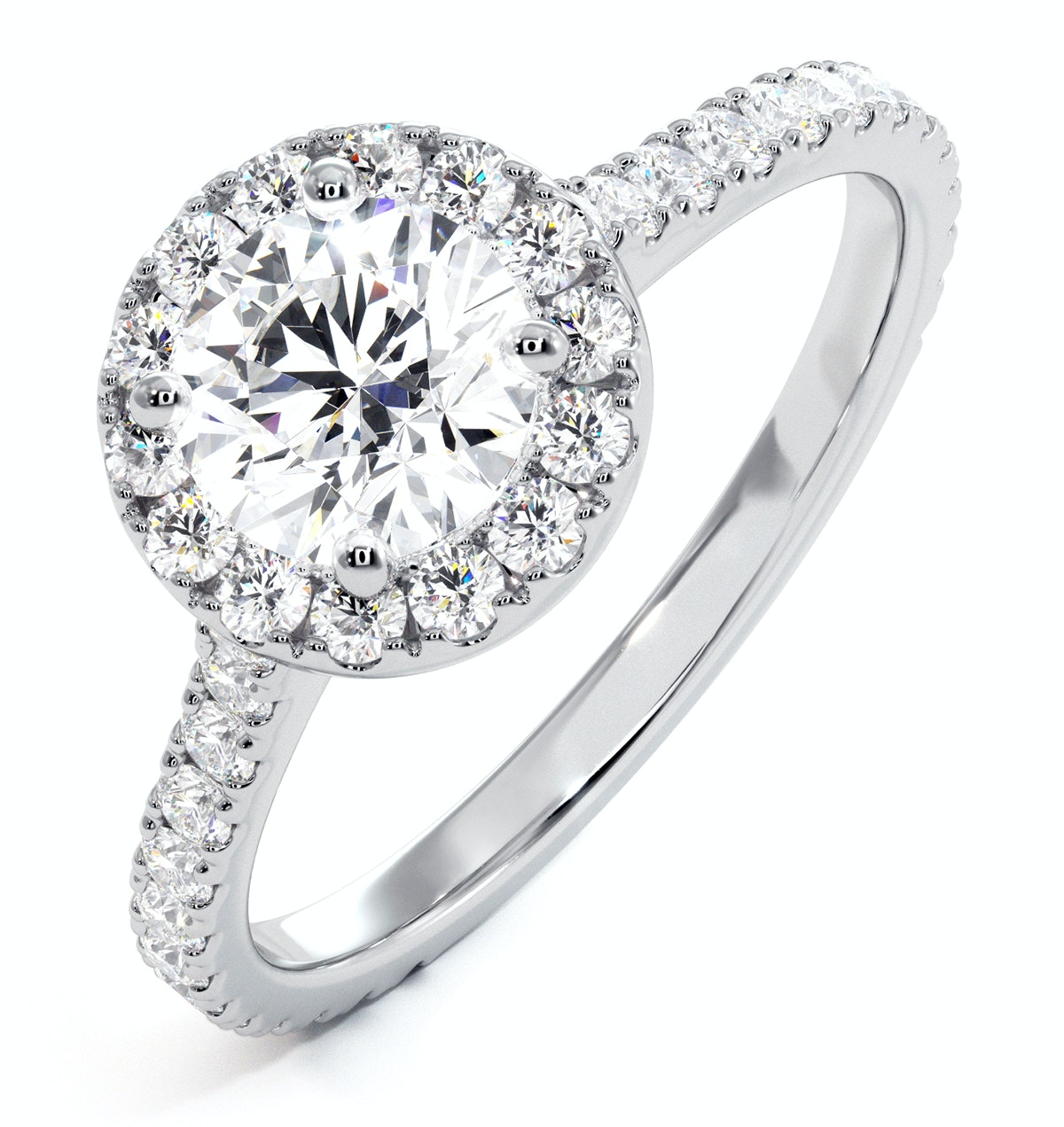 Reina GIA Diamond Halo Engagement Ring in 18K White Gold 1.40ct G/SI1