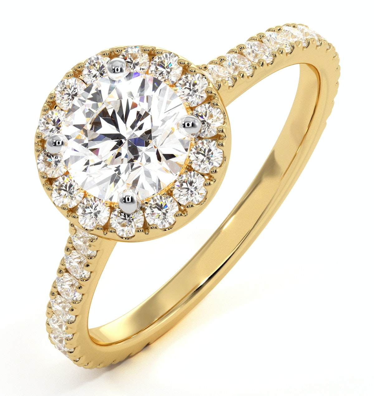 Reina GIA Diamond Halo Engagement Ring in 18K Gold 1.40ct G/VS2