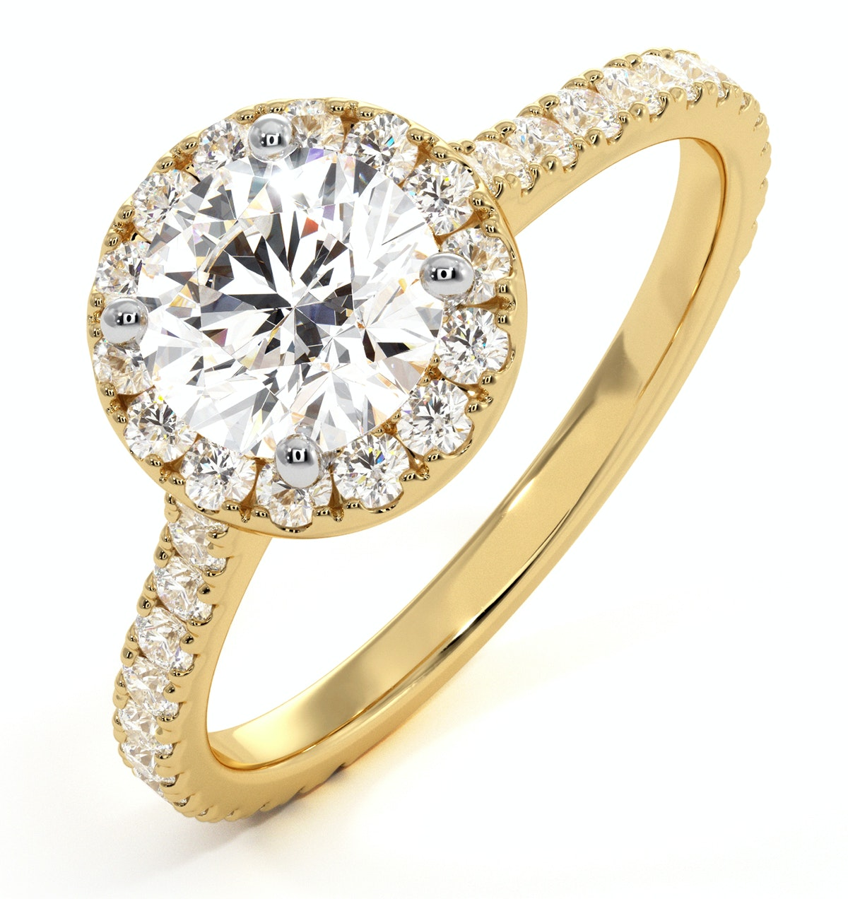 Reina GIA Diamond Halo Engagement Ring in 18K Gold 1.60ct G/VS1