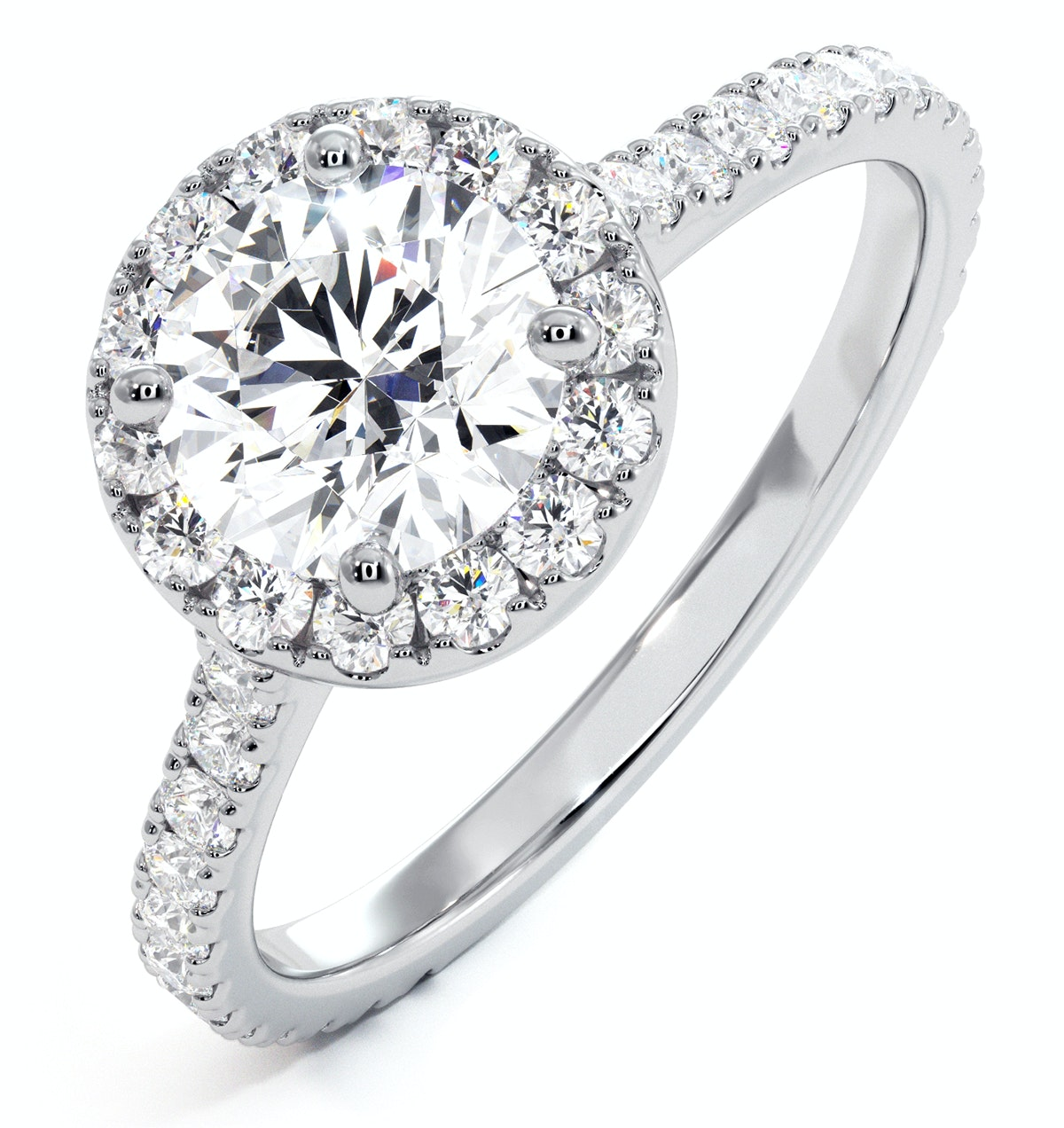 Reina GIA Diamond Halo Engagement Ring in 18K White Gold 1.80ct G/VS2