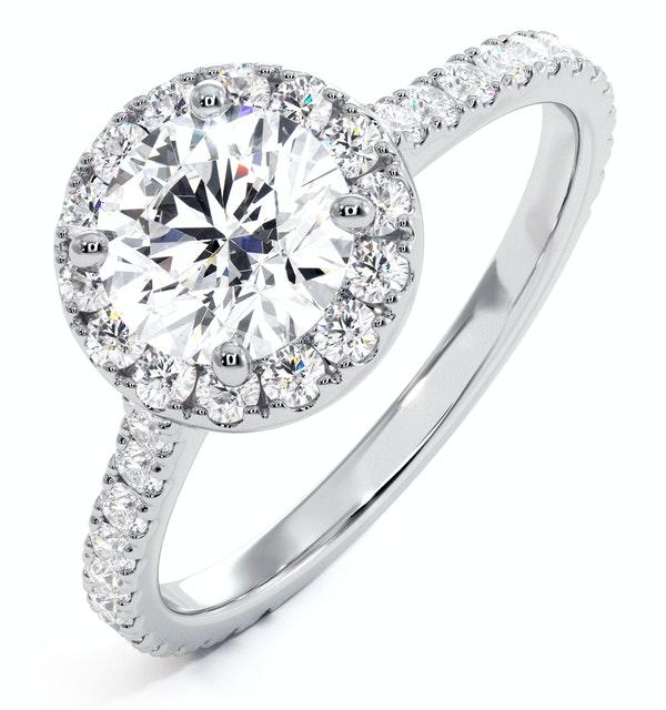 Reina GIA Diamond Halo Engagement Ring in Platinum 1.80ct G/SI2 - image 1