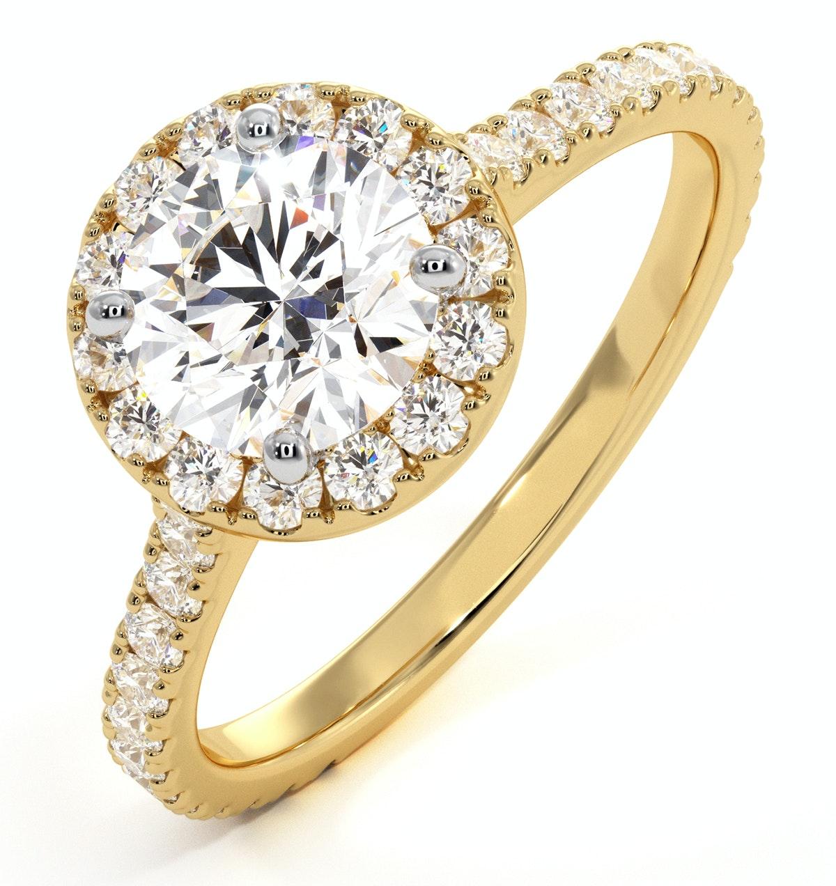 Reina GIA Diamond Halo Engagement Ring in 18K Gold 1.80ct G/SI2