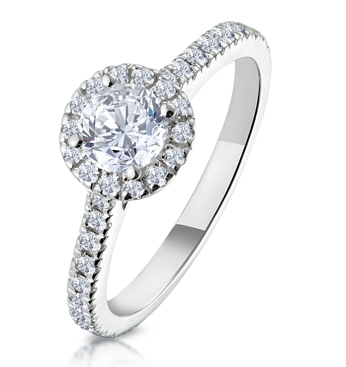 Reina GIA Diamond Halo Engagement Ring in Platinum 1.10ct G/SI1