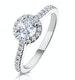 Reina GIA Diamond Halo Engagement Ring in 18K White Gold 1.10ct G/SI2 - image 1