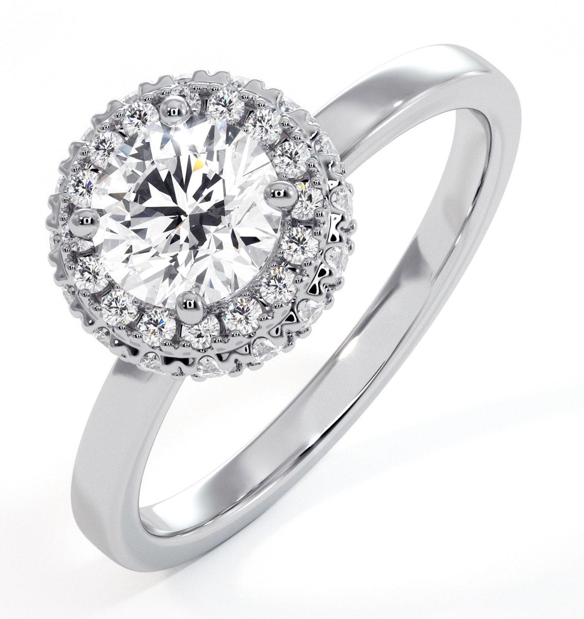 Eleanor GIA Diamond Halo Engagement Ring in Platinum 0.87ct G/VS2