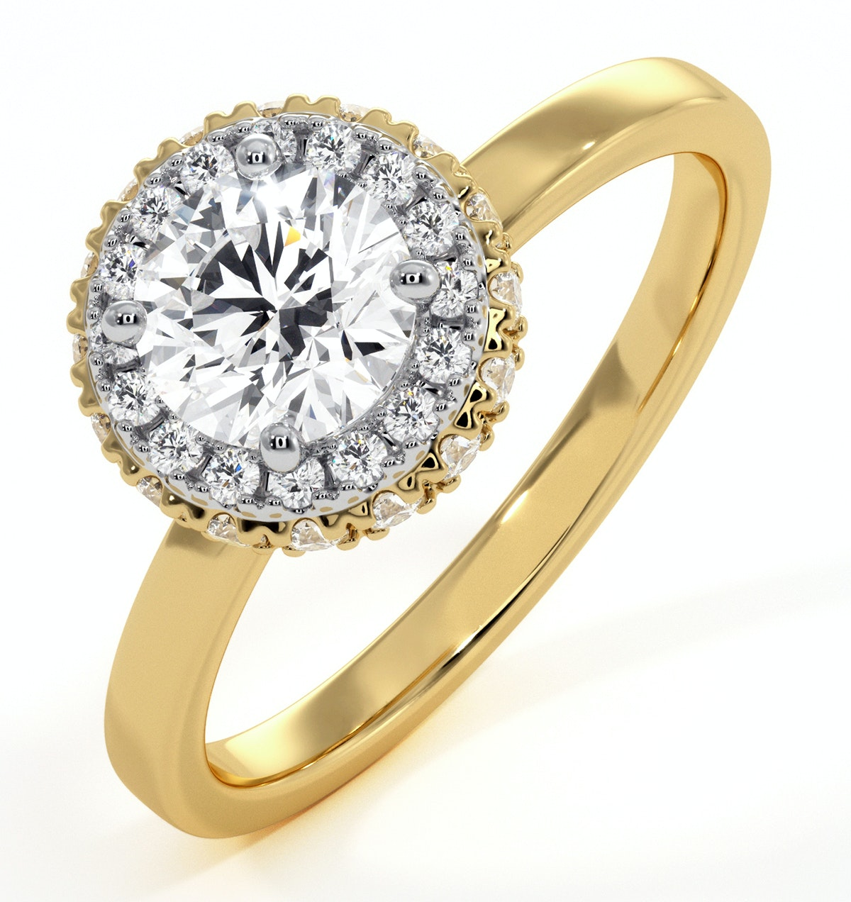 Eleanor GIA Diamond Halo Engagement Ring in 18K Gold 0.87ct G/VS2