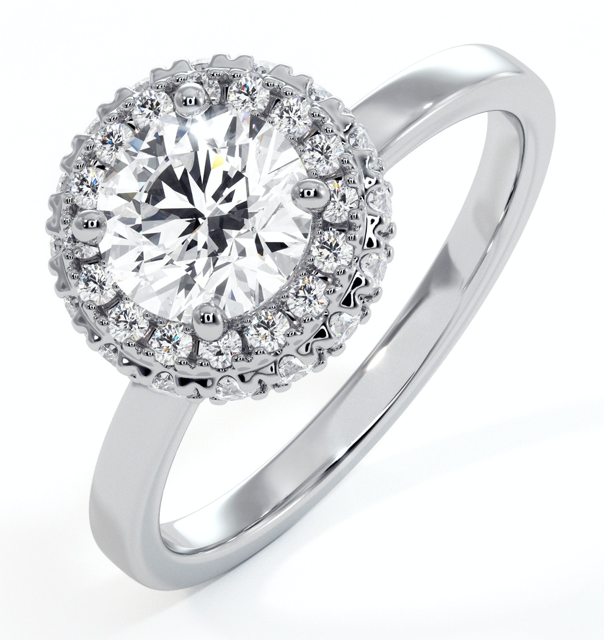 Eleanor GIA Diamond Halo Engagement Ring in Platinum 1.09ct G/SI1