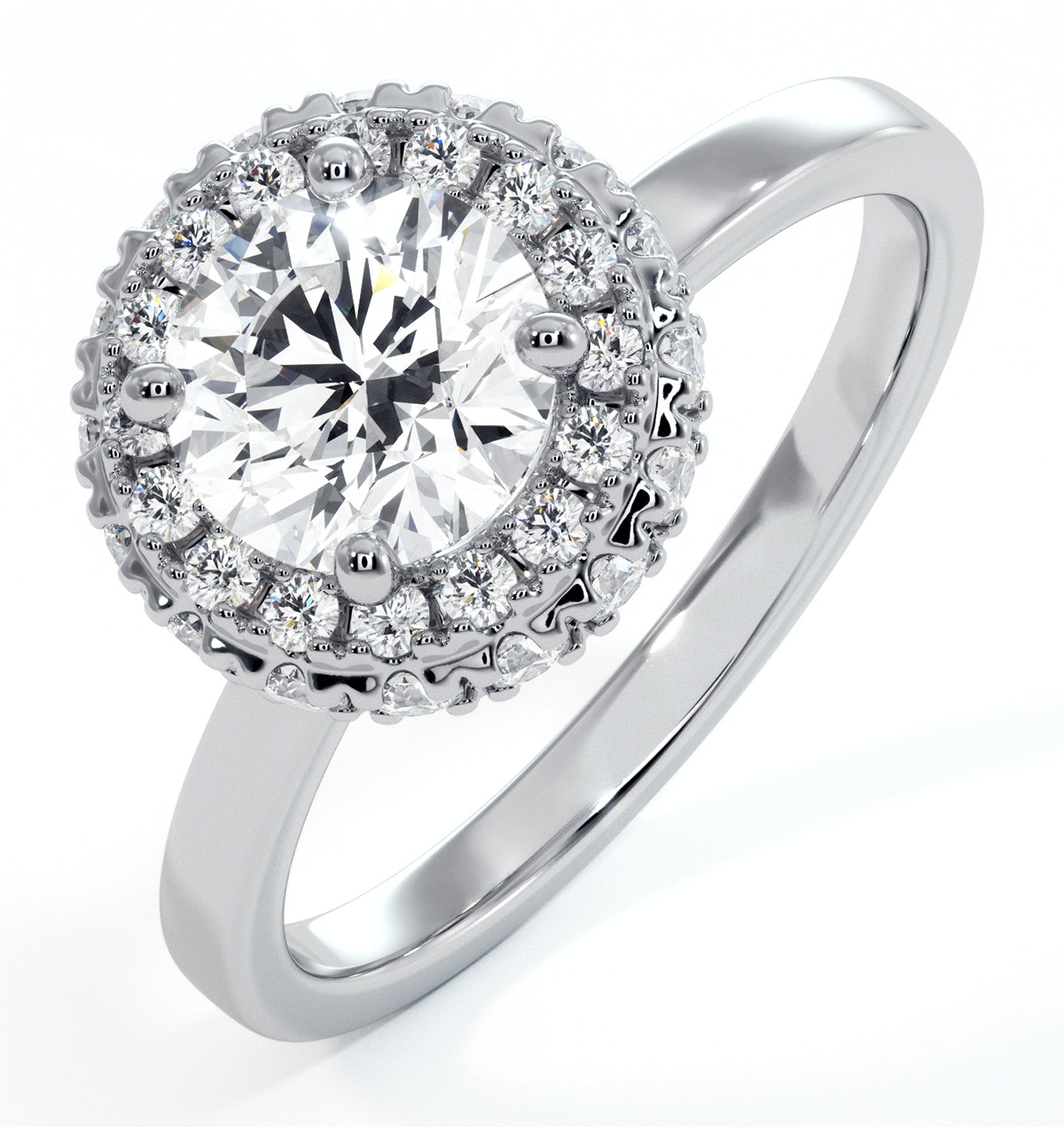 Eleanor GIA Diamond Halo Engagement Ring in Platinum 1.23ct G/VS2
