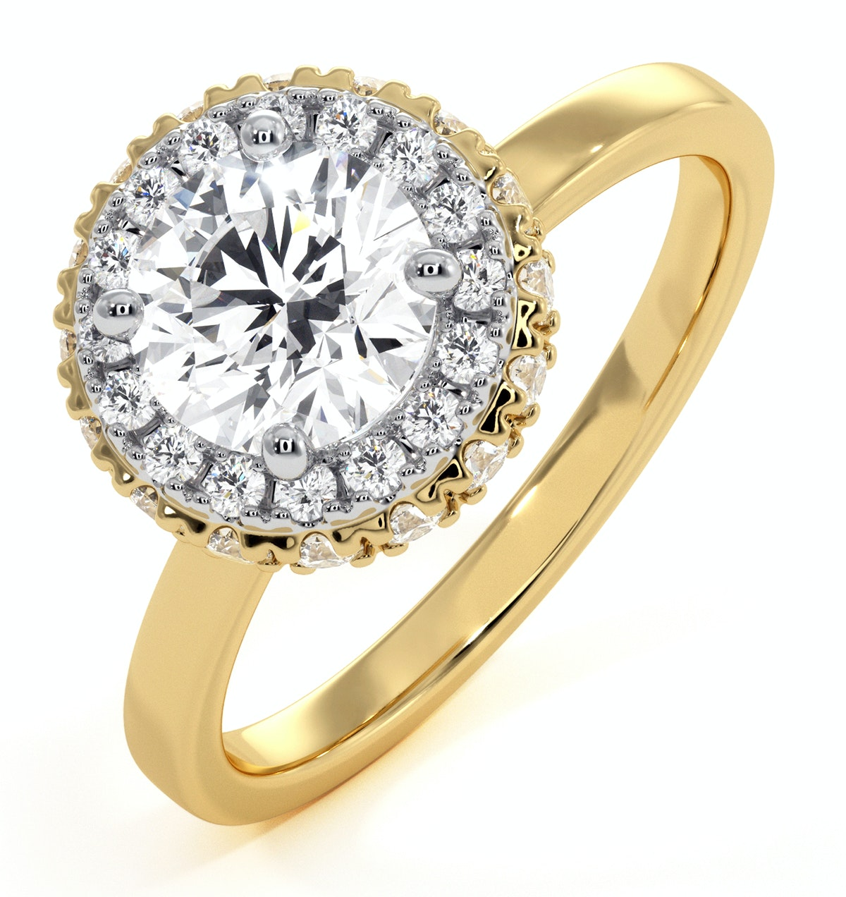 Eleanor GIA Diamond Halo Engagement Ring in 18K Gold 1.23ct G/VS1