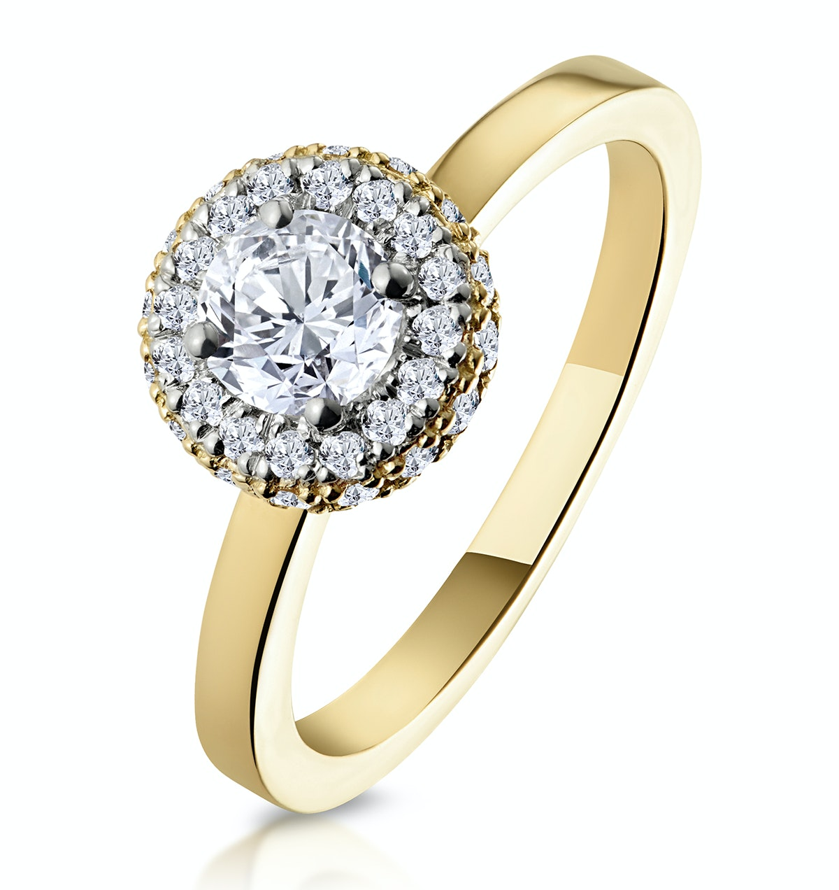 Eleanor GIA Diamond Halo Engagement Ring in 18K Gold 0.65ct G/SI1