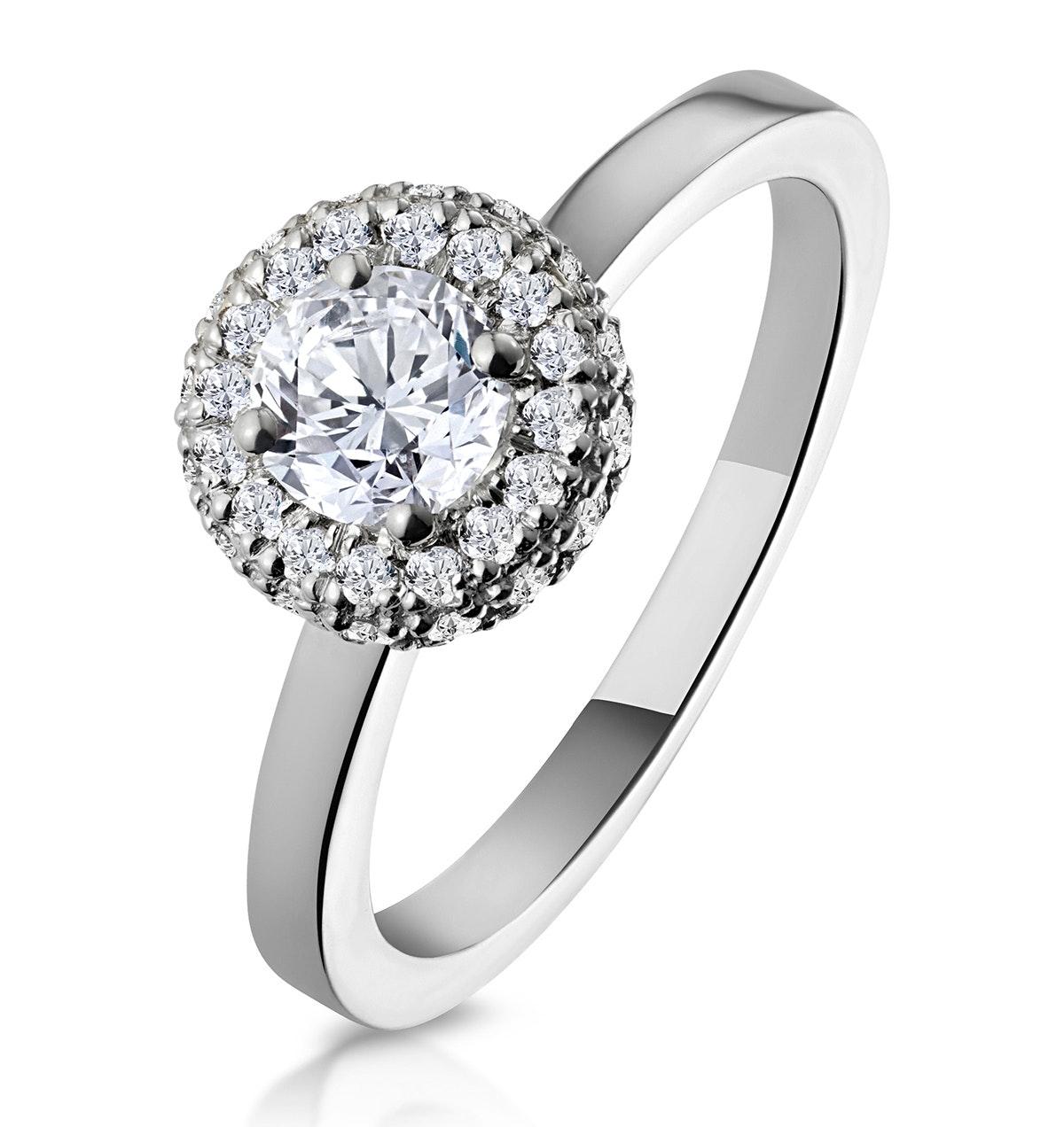 Eleanor GIA Diamond Halo Engagement Ring in Platinum 0.65ct G/VS1