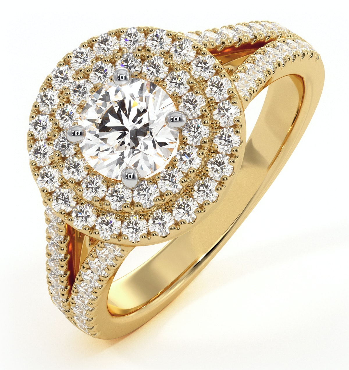 Camilla GIA Diamond Halo Engagement Ring in 18K Gold 1.15ct G/SI1