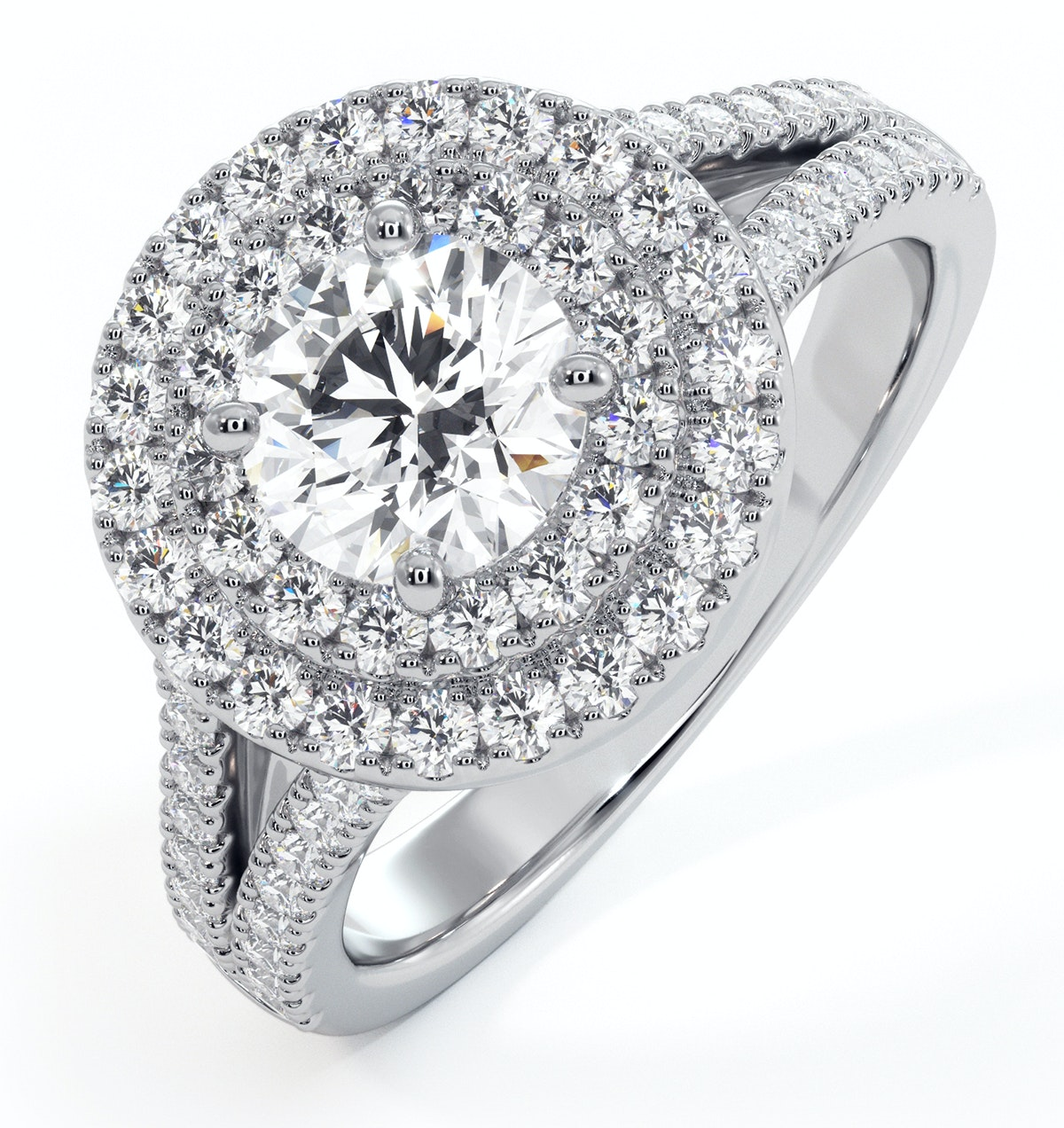 Camilla GIA Diamond Halo Engagement Ring in Platinum 1.65ct G/SI2