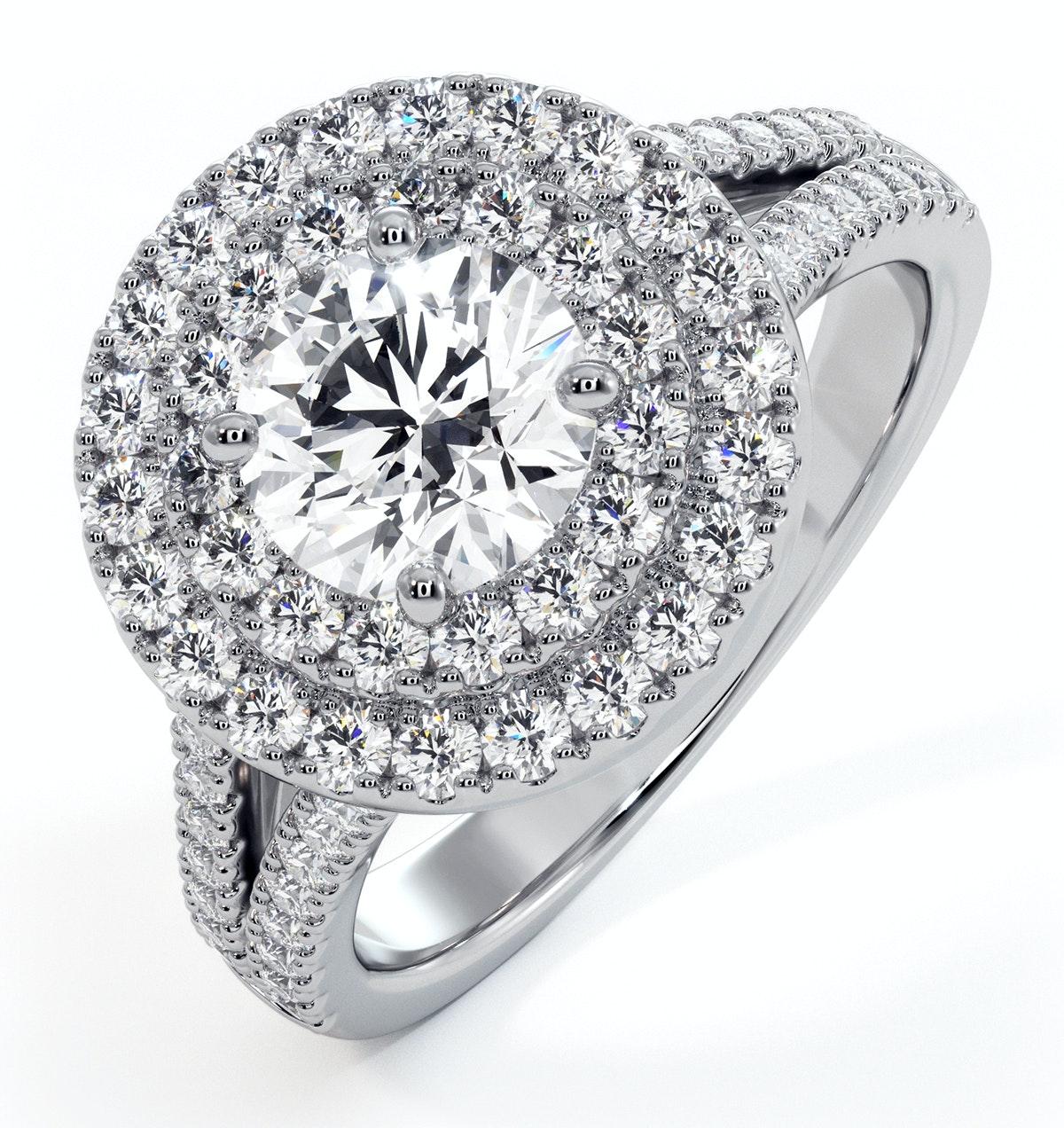 Camilla GIA Diamond Halo Engagement Ring 18K White Gold 1.85ct G/SI2