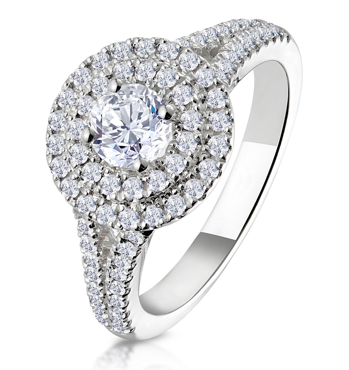 Camilla GIA Diamond Halo Engagement Ring in Platinum 1.15ct G/VS1