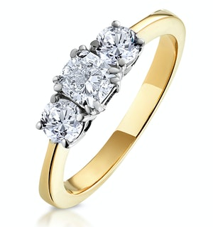 3 STONE MEGHAN DIAMOND ENGAGEMENT RING 1CT G/SI1 IN 18K GOLD