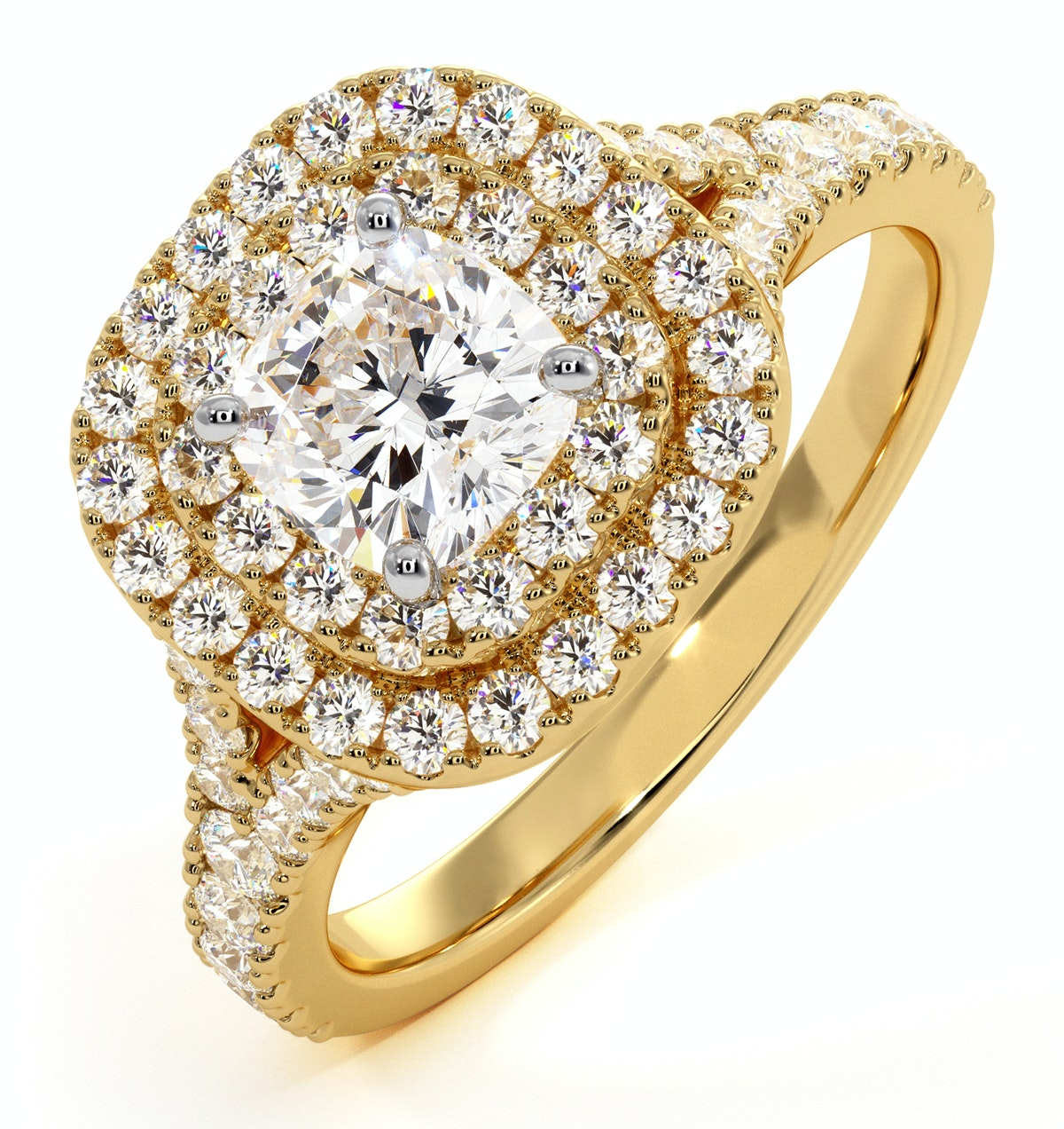 Anastasia GIA Diamond Halo Engagement Ring in 18K Gold 1.30ct G/SI1