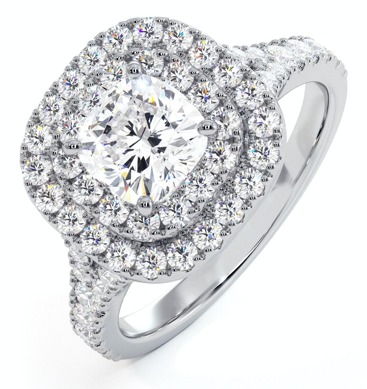 Anastasia GIA Diamond Halo Engagement Ring 18K White Gold 1.45ct G/VS1