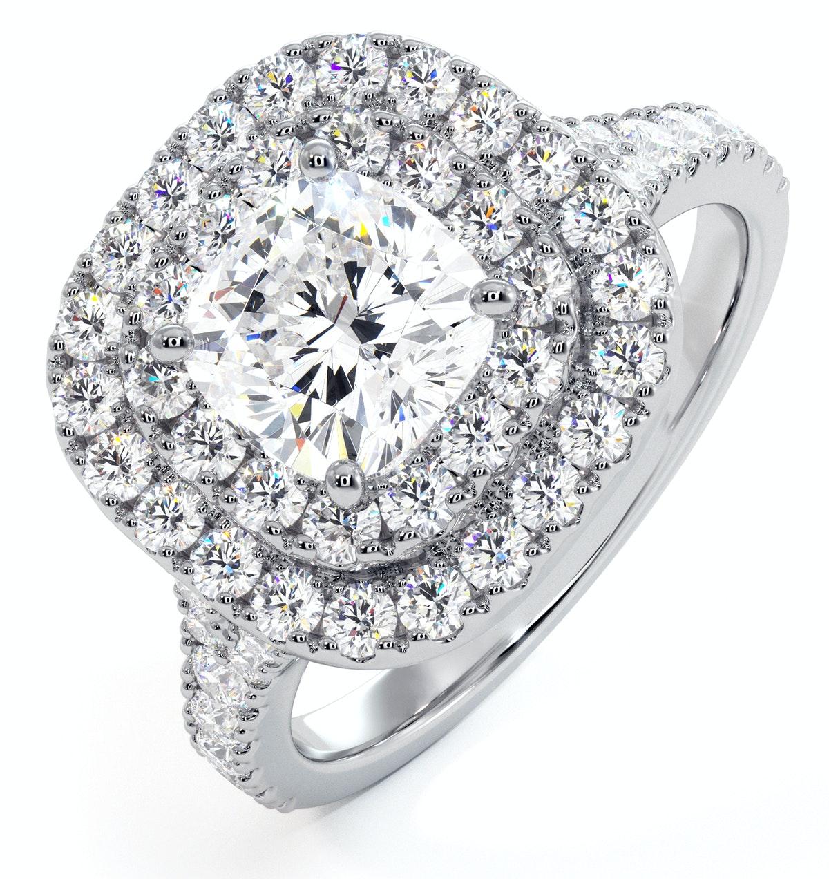 Anastasia GIA Diamond Halo Engagement Ring in Platinum 1.70ct G/VS2