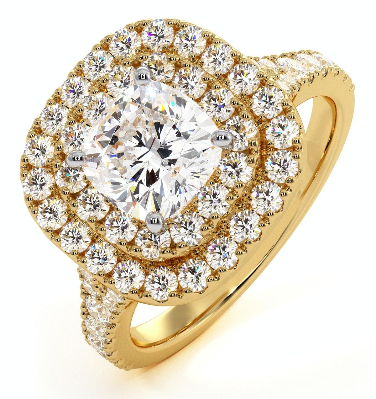 Anastasia GIA Diamond Halo Engagement Ring in 18K Gold 1.70ct G/VS2